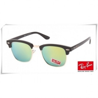 Ray Ban RB3016 Classic Clubmaster Sunglasses Black Frame Green Mirror Lens