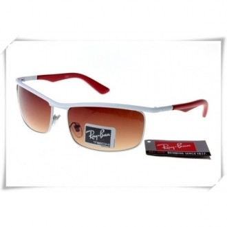 Ray Ban RB3459 Sunglasses White Red Frame Brown Gradient Lens