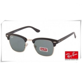 Ray Ban RB3016 Classic Clubmaster Sunglasses Black Gold Frame Grey Lens