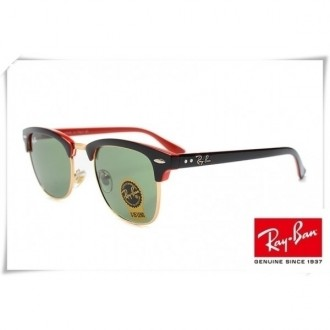 Ray Ban RB3016 Classic Clubmaster Sunglasses Black Red Frame Green G-15 Lens