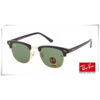 Ray Ban RB3016 Classic Clubmaster Sunglasses Black Gold Frame Green G-15 Lens