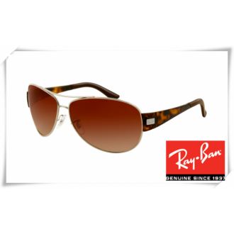 Ray Ban RB3467 Sunglasses Tortoise Silver Frame Brown Gradient Lens
