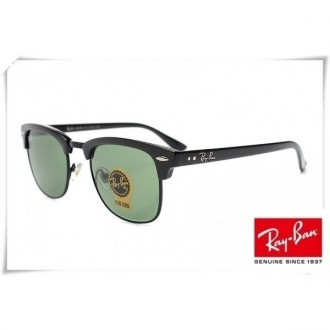 Ray Ban RB3016 Classic Clubmaster Sunglasses Black Frame Green G-15 Lens
