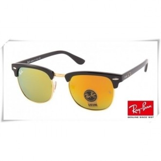 Ray Ban RB3016 Classic Clubmaster Sunglasses Black Frame Yellow Lens
