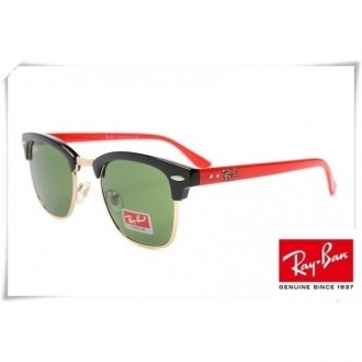 Ray Ban RB3016 Classic Clubmaster Sunglasses Black Red Frame Green Lens