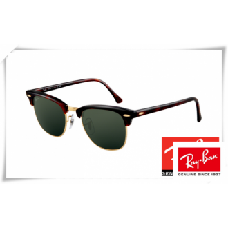 Ray Ban RB3016 Classic Clubmaster Sunglasses Tortoise Arista Frame Green Lens