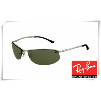 Ray Ban RB3179 Top Bar Oval Sunglasses Silver Black Frame Green Lens