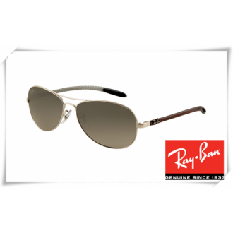 Ray Ban RB8301 Tech Sunglasses Silver Frame Grey Gradient Lens
